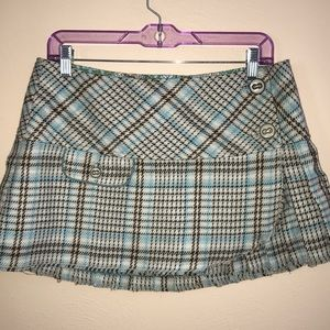 ABERCROMBIE & FITCH; Teal and Brown Mini Skirt